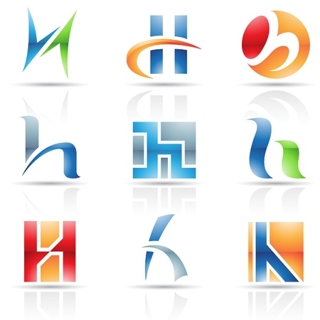 letter h: Vector illustration of abstract icons based on the letter H