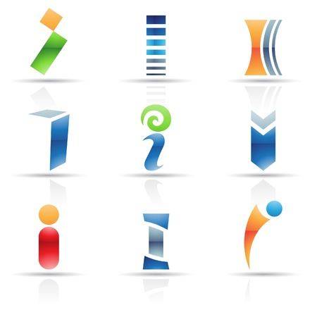 letter i: Vector illustration of abstract icons based on the letter I