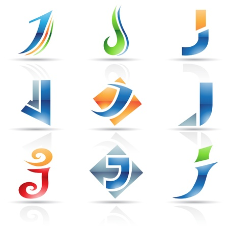 Vector illustration of abstract icons based on the letter J Vector