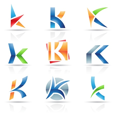 letter k: Vector illustration of abstract icons based on the letter K