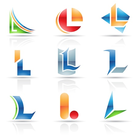 letter l: Vector illustration of abstract icons based on the letter L