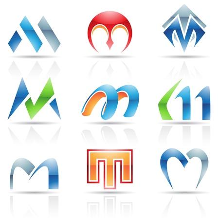 letra m: Ilustraci�n vectorial de iconos abstractos sobre la base de la letra M Vectores