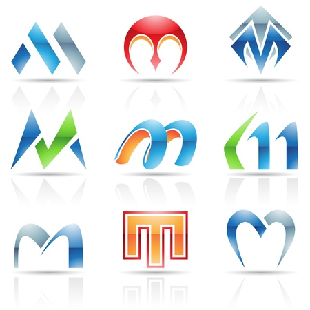 Vector illustration of abstract icons based on the letter M Vector