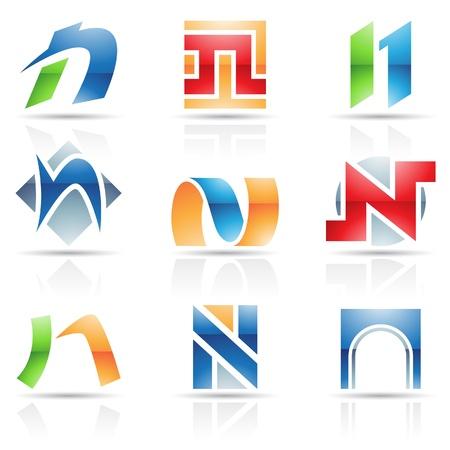 icons logo: Vector Illustration der abstrakten Symbole auf dem Brief der Basis von N Illustration