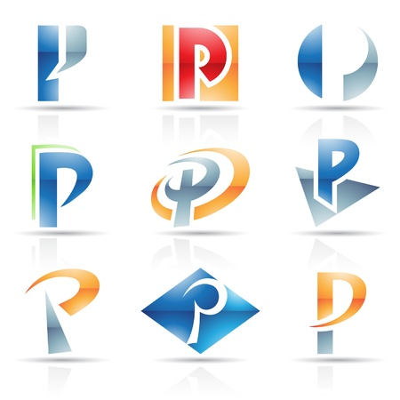 square logo: Vector illustration of abstract icons based on the letter P