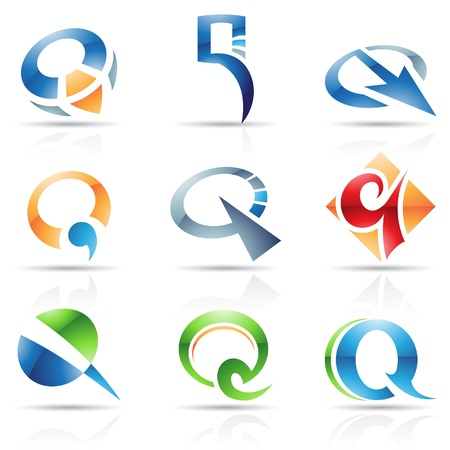 letter q: Vector illustration of abstract icons based on the letter Q