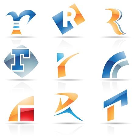 icons logo: Vector Illustration der abstrakten Symbole auf der Basis von Buchstaben R