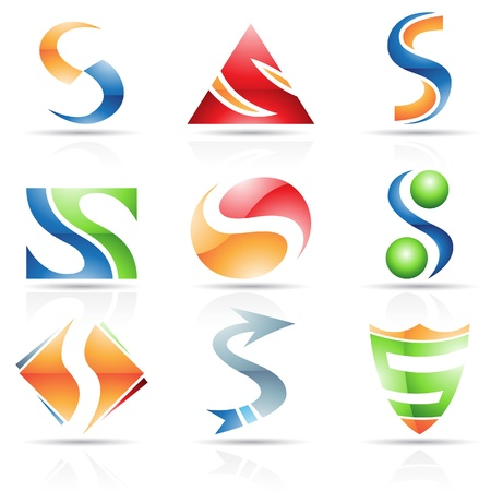 letter s: Vector illustration of abstract icons based on the letter S