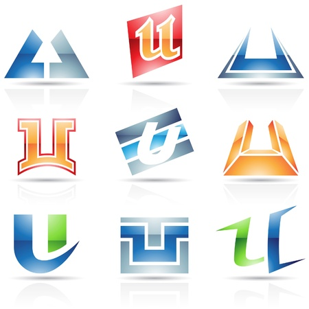Vector illustration of abstract icons based on the letter U Vector