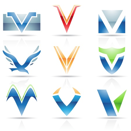 based: Vector illustration of abstract icons based on the letter V Illustration