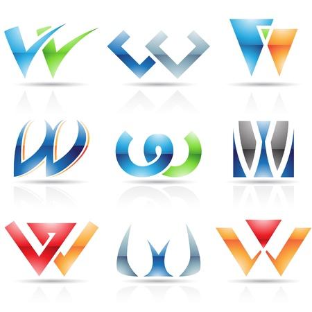 手紙 W に基づく抽象的なアイコンのベクトル イラスト  イラスト・ベクター素材