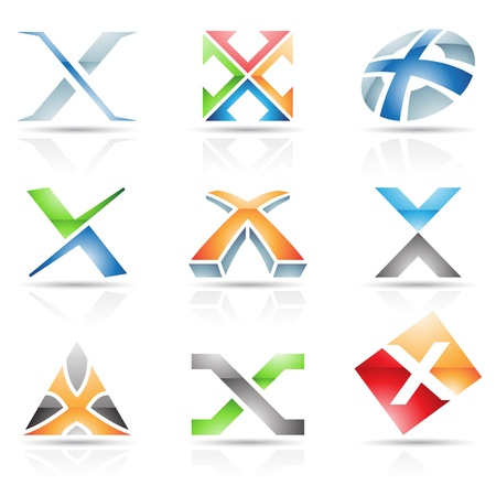 Vector illustration of abstract icons based on the letter X Vector