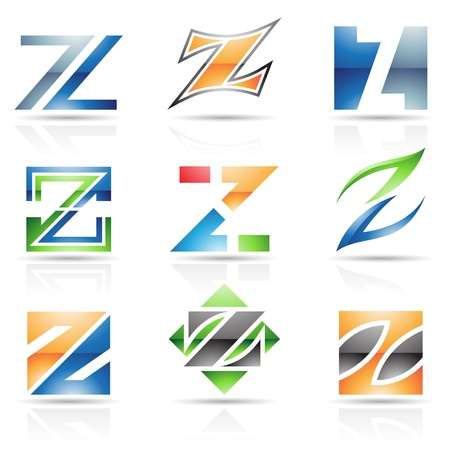 Vector illustration of abstract icons based on the letter Z Vector