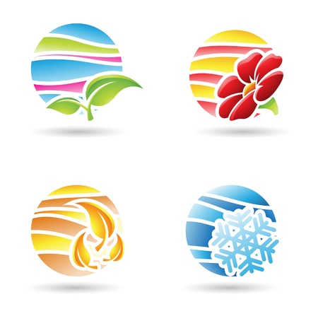 weather terms: vector illustration of colorful four seasons abstract icons