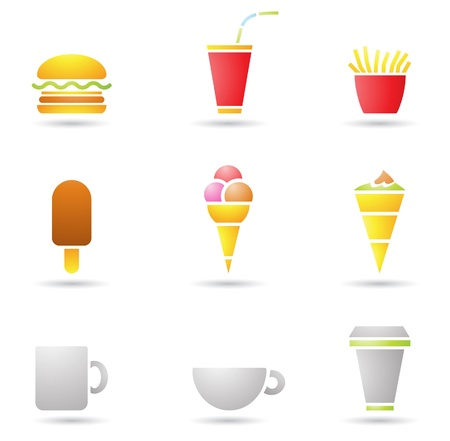 ice cream, coffee and fast food icons Vector