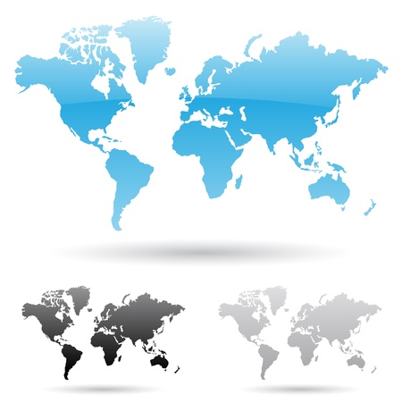 usa map: illustration of world map in 3 different colors Illustration