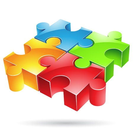 integrated: Vector illustration of glossy colorful jigsaw puzzle