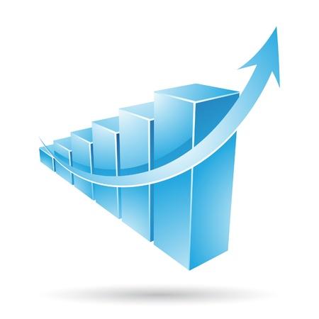 desarrollo económico: Ilustración vectorial de una estadística azul tabla de barras