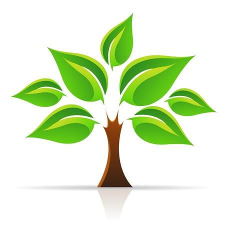 vida natural: Ilustración del vector del árbol de la vida aislada en blanco