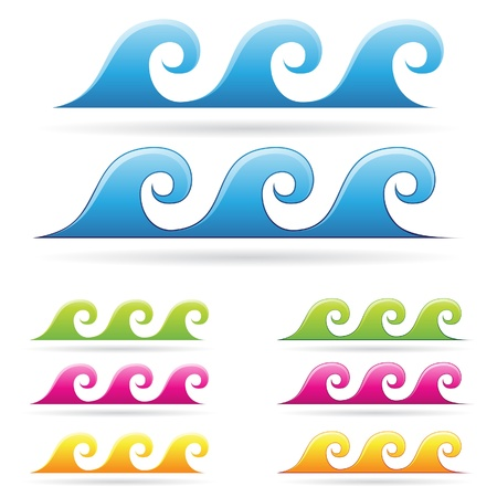 blue waves vector: Vector  illustration of colorful waves in blue, green, orange and magenta colors