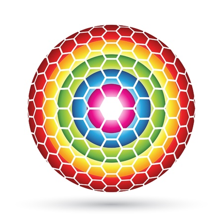 Hexagon Sphere, colorful hexagons forming an abstract ball Vector