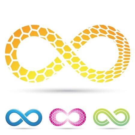 Vector illustratie van Infinity symbolen met honingraat patroon Stock Illustratie