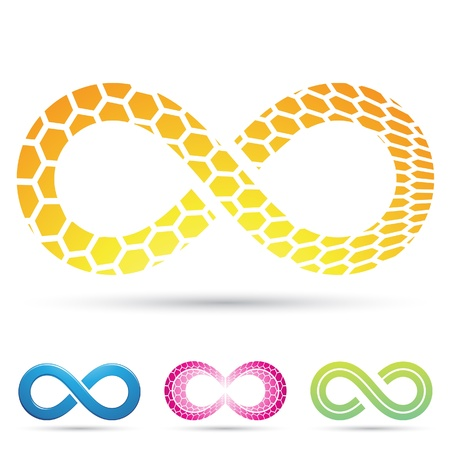 Vector illustration of Infinity Symbols with Honeycomb pattern Vector