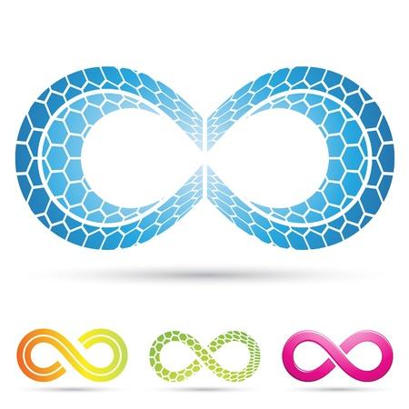 infinito simbolo: Ilustración vectorial de símbolos del infinito con patrón en mosaico