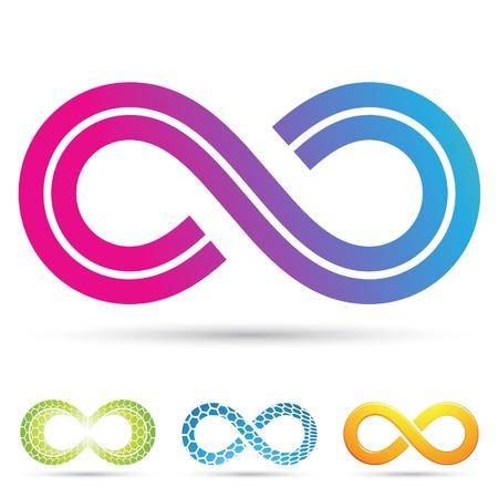 signo infinito: Ilustración vectorial de símbolos del infinito en estilo retro Vectores