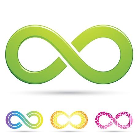 Illustrazione vettoriale di simboli eleganti Infinity stile Vettoriali