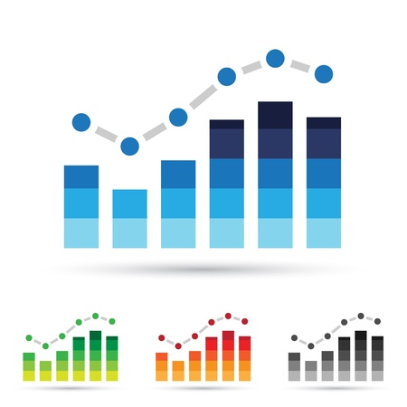 bar graph: Vector illustration of colorful stats icons
