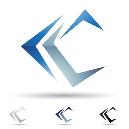 letter c:  illustration of abstract icons based on the letter C