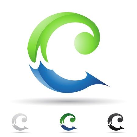 illustratie van abstracte pictogrammen op basis van de letter C