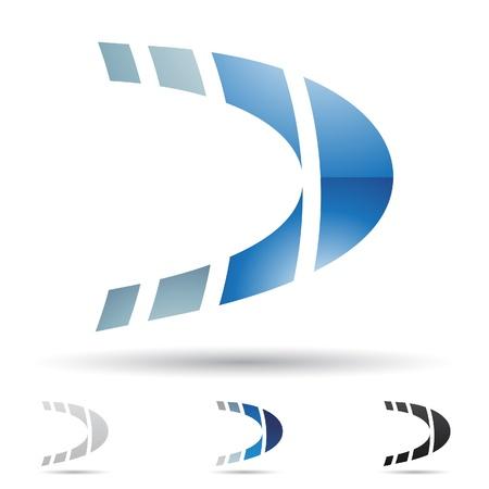 D の文字に基づいて抽象的なアイコンのイラスト