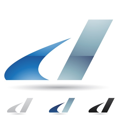 illustratie van abstracte iconen gebaseerd op de letter D