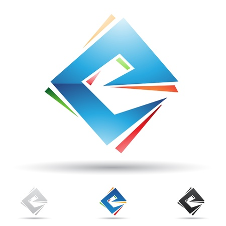 square logo:  illustration of abstract icons based on the letter E Illustration
