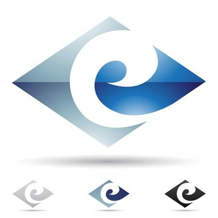 illustratie van abstracte pictogrammen op basis van de letter E Stock Illustratie