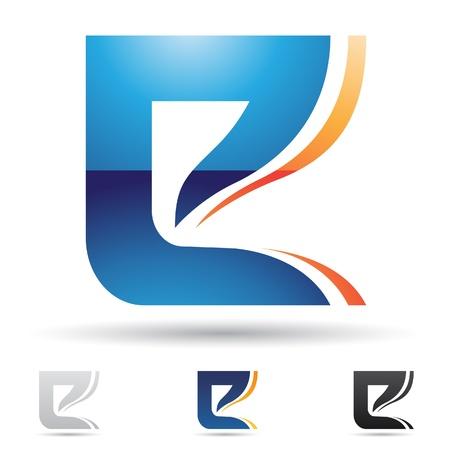 文字 E に基づく抽象のアイコンの図
