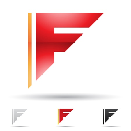 letter f: illustration of abstract icons based on the letter F