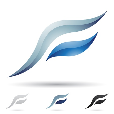 wings logos: illustration of abstract icons based on the letter F