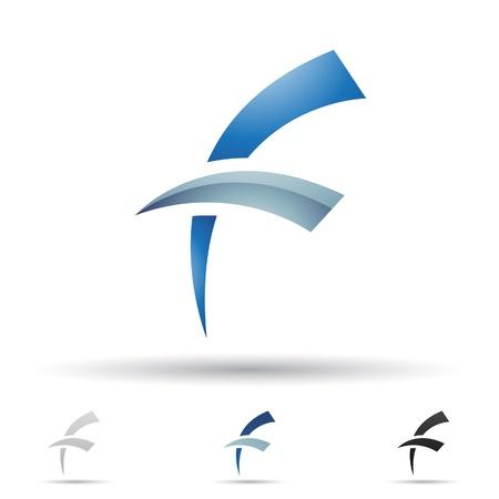 illustratie van abstracte pictogrammen op basis van de letter F Stock Illustratie