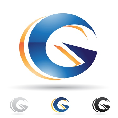 letras negras: ilustraci�n de los iconos abstractos sobre la base de la letra G