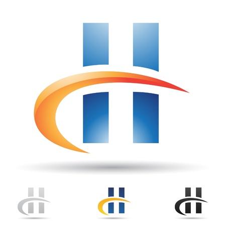 illustratie van abstracte pictogrammen op basis van de letter H Stock Illustratie