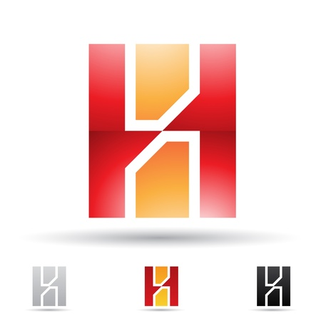 company name: illustration of abstract icons based on the letter H