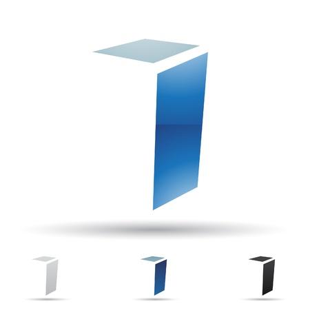 rectángulo: ilustración de los iconos abstractos sobre la base de la letra I