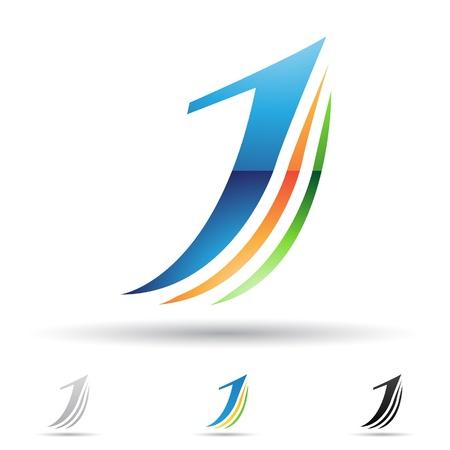 letras negras: ilustraci�n de los iconos abstractos basados ??en la letra J