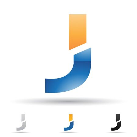 letter j: illustration of abstract icons based on the letter J