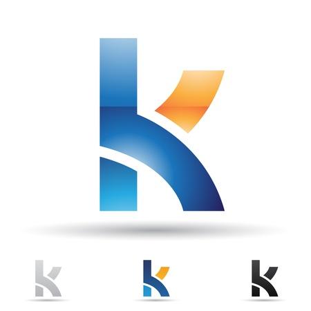 illustratie van abstracte pictogrammen op basis van de letter K Stock Illustratie