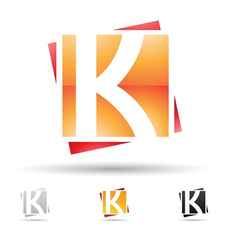 round logo: illustration of abstract icons based on the letter K
