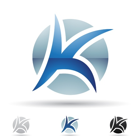 aqua icon:  illustration of abstract icons based on the letter K Illustration